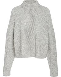 Sally Lapointe Cable-knit Wool-blend Jumper - Gray