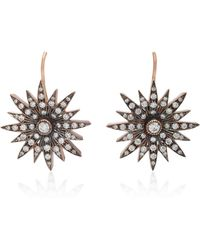 Sylva & Cie | Starburst 14k Rose Gold Diamond Earrings | Lyst