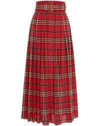 Emilia Wickstead - Richie Tartan-print Pleated Skirt - Lyst