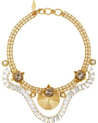 Nicole Romano - 18k Gold-plated Draped Crystal Baguette Necklace - Lyst