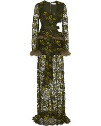 Madiyah Al Sharqi - Side Cut Embroidered Lace Gown - Lyst