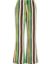 Tata Naka - Striped Silk Flared Trousers - Lyst