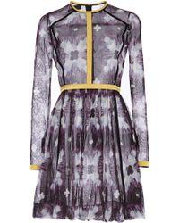 Burberry - Printed Mesh Mini dress - Lyst
