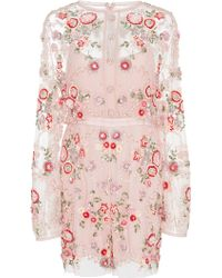 Needle & Thread | Meadow Floral Embroidered Playsuit | Lyst