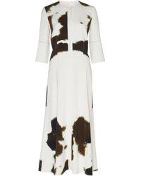 Victoria Beckham - Printed Crepe Midi Dress - Lyst