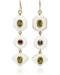 Ashley Pittman - Gold-tone, Horn, Zircon And Garnet Earrings - Lyst