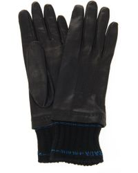 Prada - Knit-trimmed Nappa Leather Gloves - Lyst