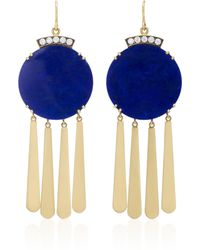 Sylva & Cie | 18k Gold, Lapis And Diamond Earrings | Lyst