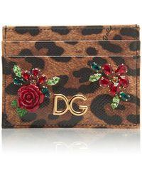 Dolce & Gabbana - Embellished Leopard-print Card Holder - Lyst