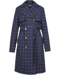 Dalood - Wool Plaid Trench Coat - Lyst