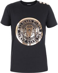 Balmain - Metallic Branded Cotton T-shirt - Lyst
