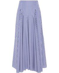 Rosetta Getty - Pleated Cotton Tuxedo Skirt - Lyst