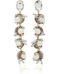 Erickson Beamon - Delicate Balance 24k Gold-plated Crystal And Pearl Earrings - Lyst