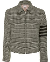 Thom Browne - Striped Checked Wool-crepe Jacket - Lyst