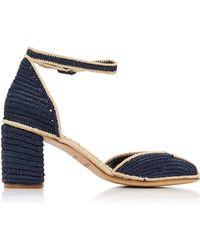 13a4ba3056a Lyst - Jimmy Choo Nico Woven Raffia Wedge Platform Sandals in Blue