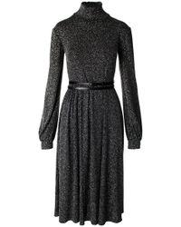 ANOUKI - Black & Sparkly Silver Turtleneck Dress - Lyst