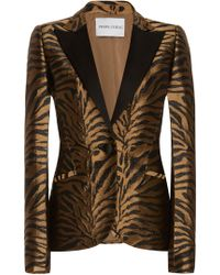 Prabal Gurung - Printed Notched-collar Fitted Jacquard Jacket - Lyst
