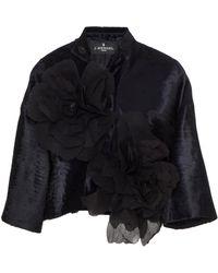 J. Mendel - Floral-appliqued Broadtail Cropped Jacket - Lyst