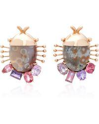 Daniela Villegas | Careyes 18k Pink Gold, Sapphire And Ocean Jasper Earrings | Lyst