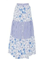 MDS Stripes - Exclusive Tiered Cotton Maxi Skirt - Lyst