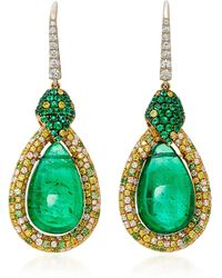 Martin Katz - Pear Shape Emerald Cabochon Earrings - Lyst