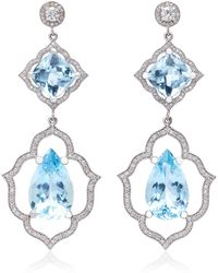 Sara Weinstock - 18k White Gold, Aquamarine And Diamond Earrings - Lyst