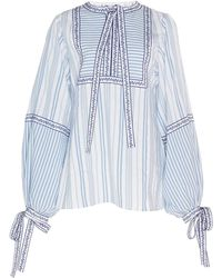 Andrew Gn - Tie-detailed Striped Voile Blouse - Lyst