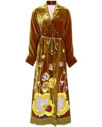 Yuliya Magdych - Pansies Embroidered Velvet Caftan - Lyst