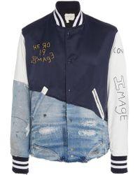 Greg Lauren - Distressed Cotton-blend Varsity Jacket - Lyst