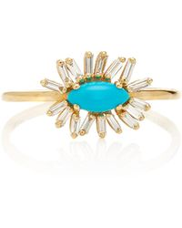 Suzanne Kalan - 18k Gold, Diamond And Turquoise Ring - Lyst