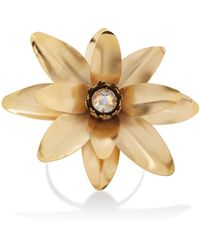 Rodarte | Gold Lotus Flower Arm Cuff With Swarovski Crystal Detail | Lyst