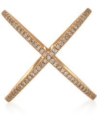 Eva Fehren - X 18k Rose Gold And Diamond Ring - Lyst