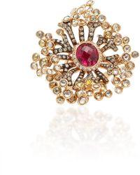 Wendy Yue - 18k Rose Gold, Sapphire, Garnet And Diamond Ring - Lyst