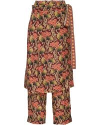 Oscar de la Renta - Skirt Overlay Floral Printed Trousers - Lyst