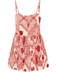 RED Valentino - Sweetheart Woodblock Print Romper - Lyst