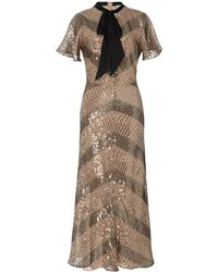 Temperley London - Silk-trimmed Pussy-bow Sequined Chiffon Dress - Lyst