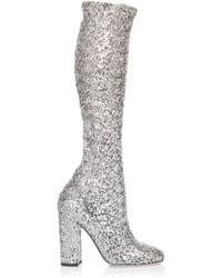Dolce & Gabbana - Silver Sequin Boot - Lyst
