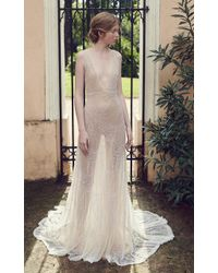 Costarellos Bridal - Beaded Tulle Plunging V-neck Gown - Lyst