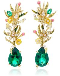 Anabela Chan Exclusive Posie 18k Yellow Gold Multi-stone Earrings