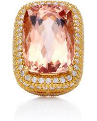 Sara Weinstock - 18k Gold, Morganite And Diamond Ring - Lyst