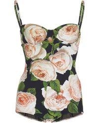 ad0969216f Dolce   Gabbana - Rose Print One-piece Swimsuit - Lyst