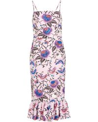 Christian Siriano - Floral Embroidered Flounce Hem Dress - Lyst