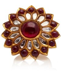 Amrapali - 22k Gold, Silver, Ruby And Diamond Ring - Lyst