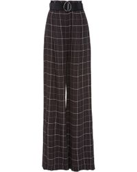 Sally Lapointe - Wide Leg Plaid Gabardine Trousers - Lyst