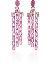 Nina Runsdorf - M'o Exclusive One-of-a-kind Pink Sapphire Art Deco Style Earrings - Lyst
