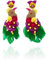 Ranjana Khan - Toucanet Feathered Floral Gold-tone Drop Earrings - Lyst