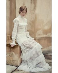 Costarellos Bridal - Mock-neck Ruffled Mesh Dress - Lyst