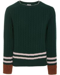 Lanvin - Striped Wool And Cashmere-blend Cable-knit Sweater - Lyst