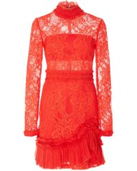 Alexis - Wilhemina Lace Mock Neck Mini Dress - Lyst