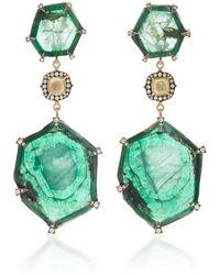 Sylva & Cie - 18k Gold, Emerald And Diamond Drop Earrings - Lyst